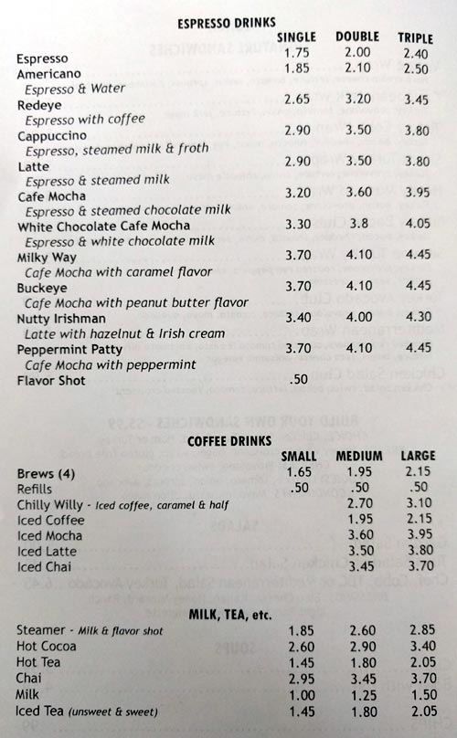 Village Coffee Company Granville Ohio Menu